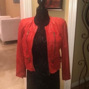 Michael Kors Red Leather Jackets Size PL